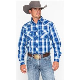 Wrangler Blue/White Fashion Snap Plaid Long Sleeve Western Mens Shirt MVG231M