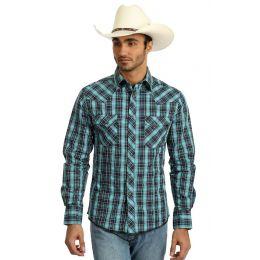 Wrangler Blue/Black Long Sleeve Fashion Western Snap Mens Plaid Shirt MVG234M