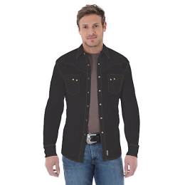 Wrangler Retro Long Sleeve Snap Mens Shirt with Stitching MVR249X