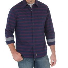 Wrangler by VF Jeanswear Navy/Red Long Sleeve Button Down Retro Mens Shirt MVR349M