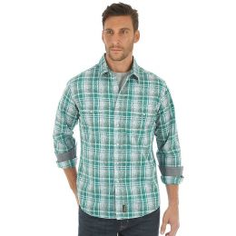 Wrangler Green/White Retro Long Sleeve Western Snap Overprint Mens Shirt MVR429M