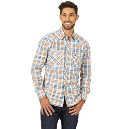Wrangler Blue/Brown Retro Mens Long Sleeve Shirt MVR472M