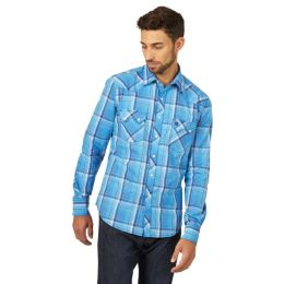 Wrangler Blue Retro Mens Long Sleeve Shirt MVR473B