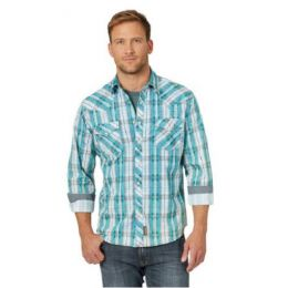 Wrangler Men's Retro Teal Plaid Snap Front Shirt MVR510T