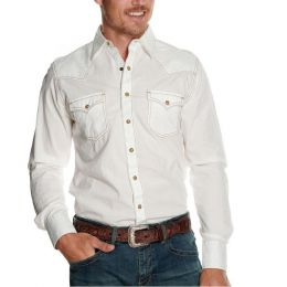 Wrangler White Dobby Retro Long Sleeve Mens Western Shirt MVR531W