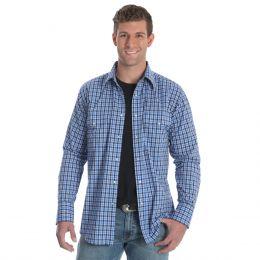 Wrangler Wrinkle Resist Blue Long Sleeve Plaid Mens Shirt MWR253M