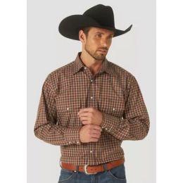 Wrangler Men's Chestnut Wrinkle Resist Long Sleeve Western Snap Plaid Shirt MWR384T