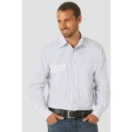 Wrangler Men's Bright White Wrinkle Resist Long Sleeve Western Snap Plaid Shirt MWR389B