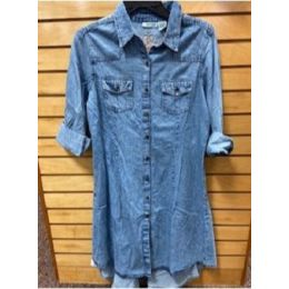 Angie Ladies Blue Jean Dress with Embroidery on Back N1111-EMB