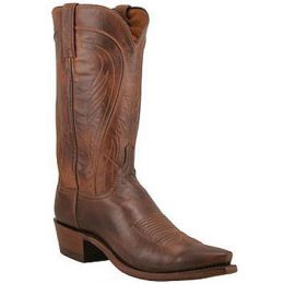 Tan Burnished Ranch Hand Leather 13 inch Lucchese Mens Cowboy Boots