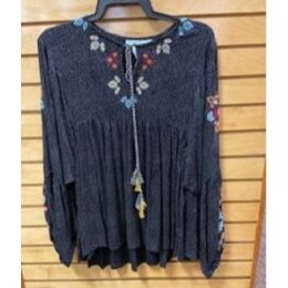 Angie Ladies Black Polka Dot Embroidered Long Sleeve Top N2114-EJ92