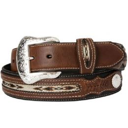 N24757-01 Black/Brown Leather Two-Tone Braided Mens Belts