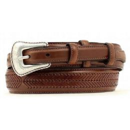 N24768-02 Brown Leather Whip Stitch Ranger Mens Belts