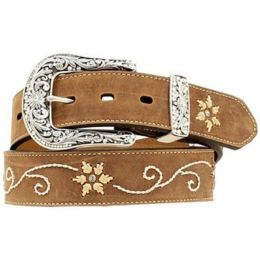 N34470-44 Rhinestone/Floral Embroidery Western Nocona Womens Belts