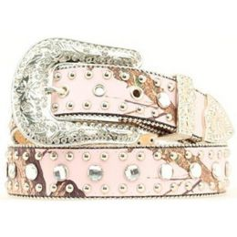 Pink Mossy Oak Print Rhinestone Western Nocona Womens Belts