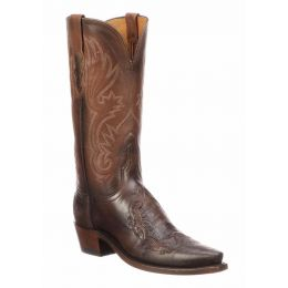 Lucchese Beatrice Ostrich Leg Inlay Chocolate Ladies Western Boots N4093.54