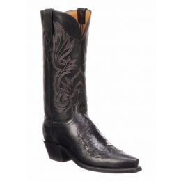 Lucchese Beatrice Belly Caimen and Calf Black Ladies Western Boot N4095.54