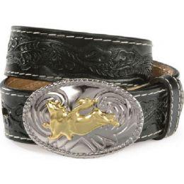 N44104 Black Tooled Leather Bullrider Buckle Nocona Boys Belts