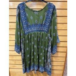 Angie Ladies Green Border Print Kimono Dress N4B84-FO43