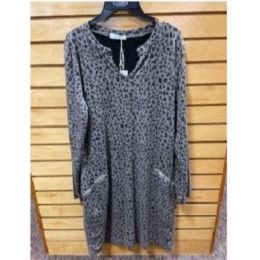 Angie Ladies Grey/Black Long Sleeve Animal Print Dress N4V68ASIS