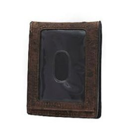 Ariat Men's Double Barrel Brown Ostrich Print with Bottle Cap Money Clip Bi-Fold Wallet N5488602