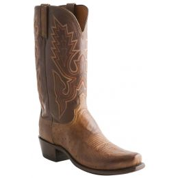 N9581.74 Barnwood Burnished Smooth Ostrich Lucchese Mens Western Boots