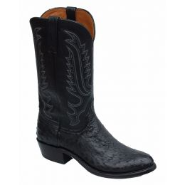 Lucchese Lebo's Ostrich Black Mens Exotic Western Boots N9795.R4