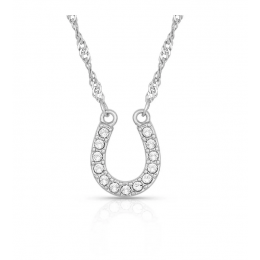 Montana Silversmiths Crystal Clear Lucky Horseshoe Women's Necklace NC62