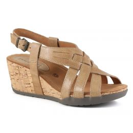 Bussola Gobba Sand NYNETTE Adjustable Back Womens Wedge Sandals NYNETTE