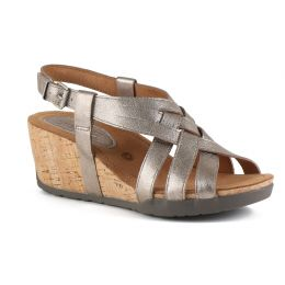 Bussola Soft Metallic White Gold NYNETTE Adjustable Back Womens Wedge Sandals NYNETTE