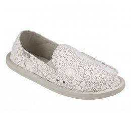 1015911 White/Oatmeal Donna Crochet Womens Comfort Sanuk Shoes