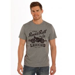 Grey Legend Motorcycle Short Sleeve Rock & Roll Cowboy Mens T-Shirt