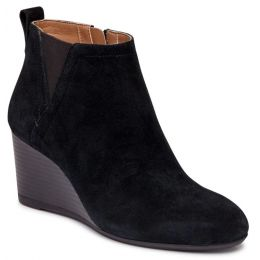 Vionic Black Suede Paloma Womens Short Wedge Boots