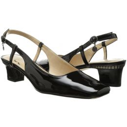 PAMELIA-BLACK Square Toe Slingback Pump Ladies Shoes