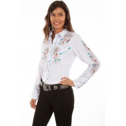 Scully Dream weaver embroidered snap front western shirt   PL877 WHT    ***Online Only