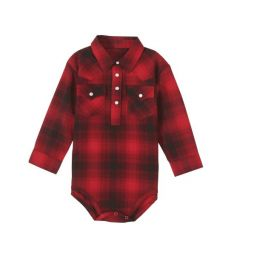 Wrangler Infant Plaid Long Sleeve Bodysuit PQ8046M