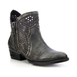 Circle G from Corral Boots Cut Out Short Black Womens Western Boots Q0001