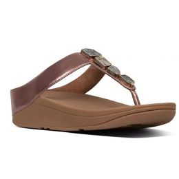 Fitflop Rose Gold Fino Shellstone Toe-Thong Womens Sandals R02-323