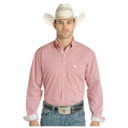 Panhandle Men's Red Long Sleeve Button Down Shirt R0D4002-93