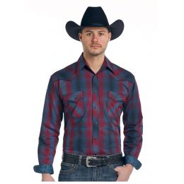 Panhandle Slim Stonecreek Ombre Plaid Rough Stock Mens Long Sleeve Shirt R0F-3184