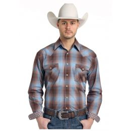 Panhandle Slim Woodsage Ombre Plaid Rough Stock Mens Long Sleeve Shirt R0S-3171