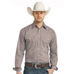 Panhandle Slim Tonopah Vintage Print Rough Stock Mens Long Sleeve Shirt R0S-3172