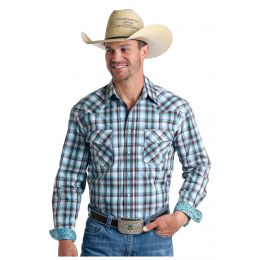 Panhandle Slim Foothill Ombre Dobby Plaid Mens Long Sleeve Snap Shirt R0S5739