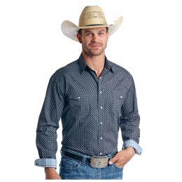 Panhandle Slim Rough Stock Oscela Vintage Print Mens Long Sleeve Snap Shirt R0S5765