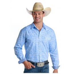 Panhandle Slim Blue Wimberly Vintage Print Mens Long Sleeve Snap Shirt R0S5770