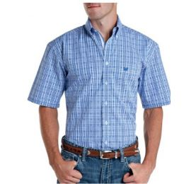 Panhandle Men's Blue Regular Fit Classic Dobby Plaid Short Sleeve Button Down Shirt RID5771-45