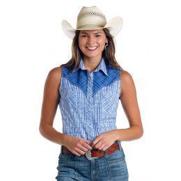 Panhandle Slim Devlin Classic Dobby Plaid Womens Western Tank Shirt R5-5771