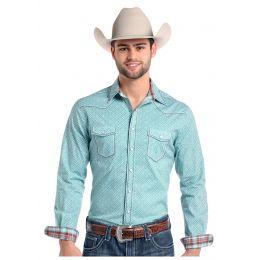 Panhandle Slim Donato Vintage Print Mens Long Sleeve Snap Western Shirt R8S7572