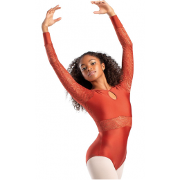 So Danca Burnish Adult Long Sleeve Shimmer Leotard with Lace RDE-1842-BURNIS