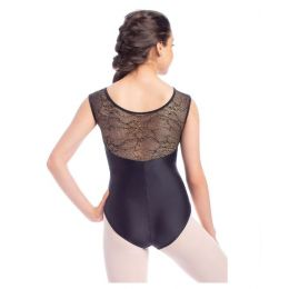 So'Danca Glad Adult Gold Tulle Wide Neck Tank Leotard RDE-1907